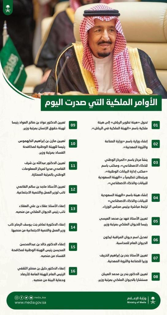 إنفوجرافيك الملك سلمان يصدر عددا من الأوامر الملكية معلومات مباشر