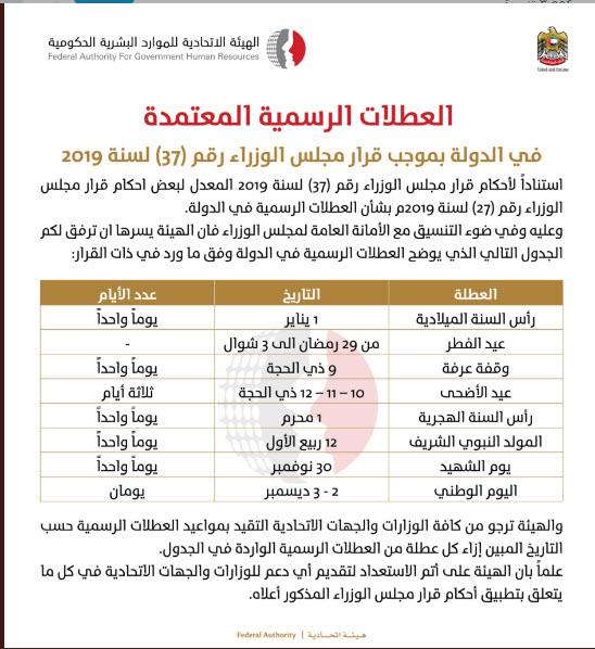 بالوثائق تعرف على الإجازات الرسمية بالإمارات في 2019 معلومات مباشر