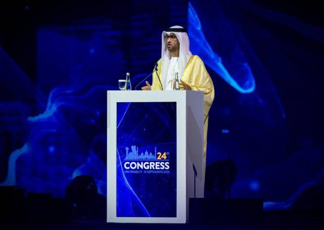 """رئيس شركة بترول أبوظبي الوطنية """"أدنوك للتوزيع""""، سلطان الجابر خلال مؤتمر الطاقة العالمي في أبوظبي"""