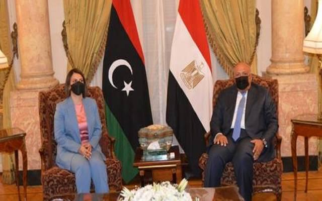 جانب من مباحثات وزيرا خارجية مصر وليبيا في القاهرة