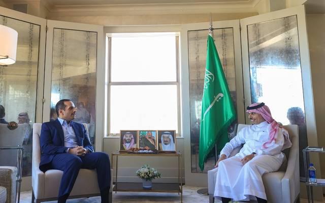الأمير فيصل بن فرحان بن عبدالله والشيخ محمد بن عبد الرحمن آل ثاني