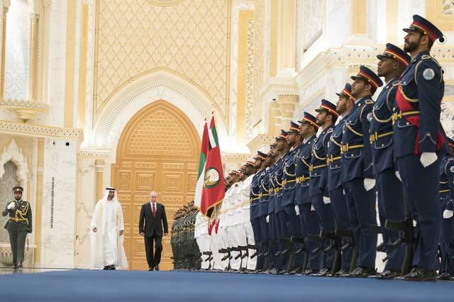 جانب من استقبال الرئيس الروسي في الإمارات