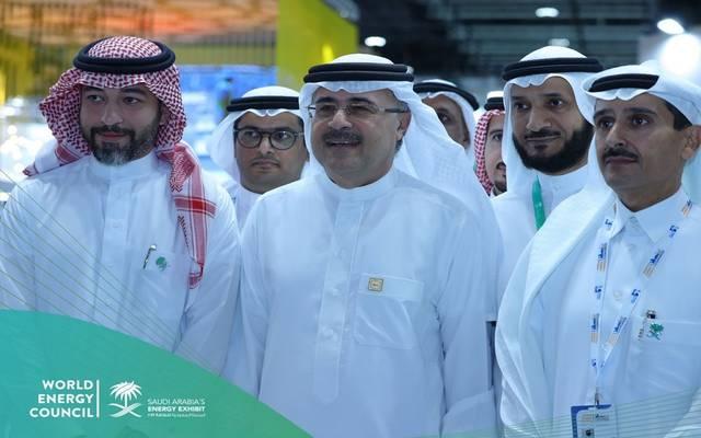 رئيس أرامكو السعودية أمين الناصر في زيارة لجناح المملكة العربية السعودية المشارك في مؤتمر الطاقة العالمي بأبوظبي