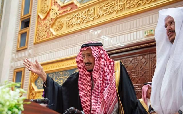 خادم الحرمين الشريفين، الملك سلمان بن عبدالعزيز آل سعود الملك سلمان، داخل مجلس الشورى مع رئيس المجلس عبدالله آل الشيخ