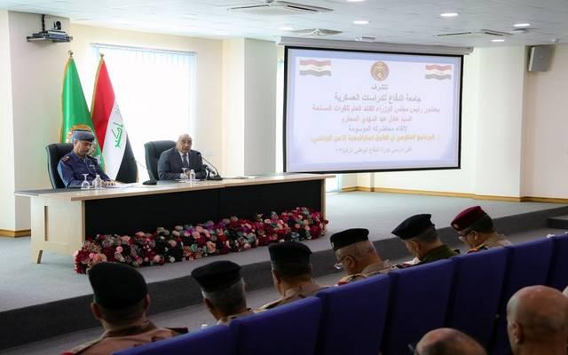 عادل عبدالمهدي، رئيس الوزراء العراقي القائد العام للقوات المسلحة، خلال لقاء في جامعة الدفاع للدراسات العسكرية