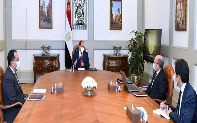 اجتماع السيسي مع مصطفى مدبولي رئيس مجلس الوزراء، وعمر مروان وزير العدل