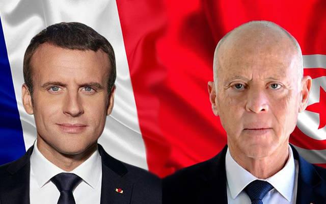 الرئيسان التونسي قيس سعيد والفرنسي إيمانويل ماكرون