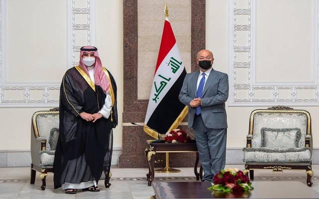 جانب من لقاء الأمير خالد بن سلمان مع رئيس العراق