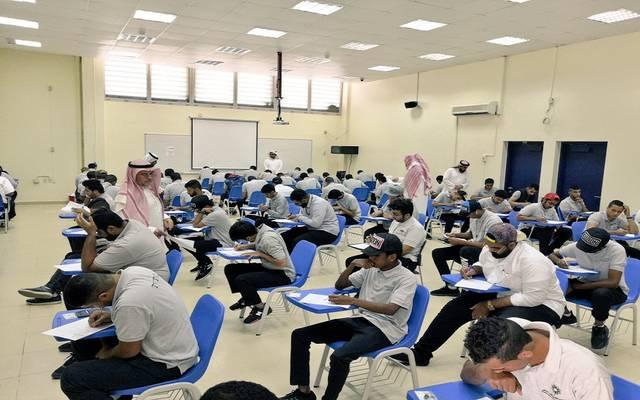 طلبة بإحدى الجامعات السعودية يؤدون الاختبارات- أرشيفية