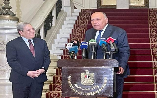 جانب من المؤتمر الصحفي لوزيرا خارجية مصر وتونس في القاهرة