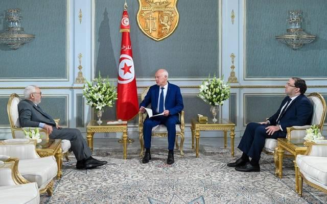 جانب من اجتماع الرئيس قيس سعيد رئيس حكومة تصريف الأعمال ورئيس النواب