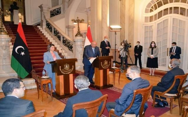 مؤتمر صحفي لوزير الخارجية المصري ونظيرته الليبية في القاهرة