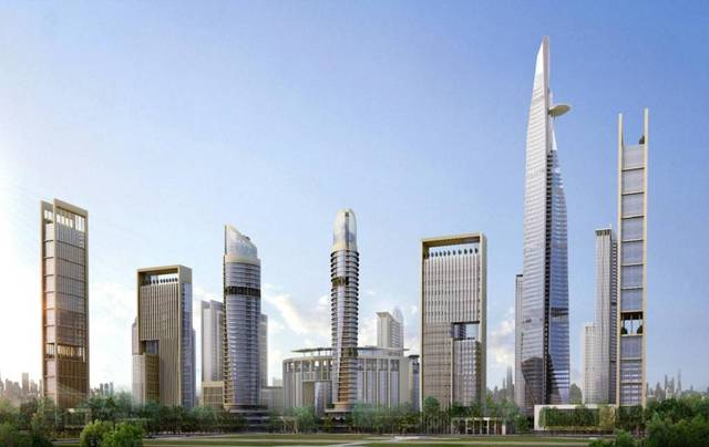 The central business district features Africa's tallest tower