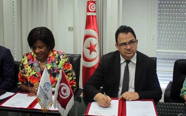 خلال توقيع الاتفاقية بين وزير التنمية والاستثمار والتعاون الدولي التونسي ومديرة منطقة المغرب العربي ومالطا والشرق الأوسط بالبنك الدولي