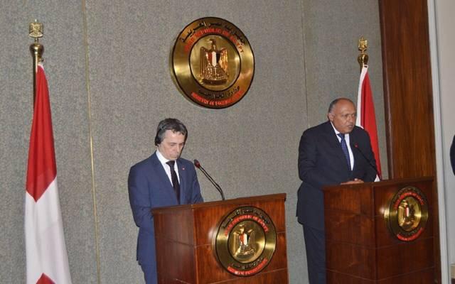 جانب من المؤتمر الصحفي المشترك بين وزيري الخارجية