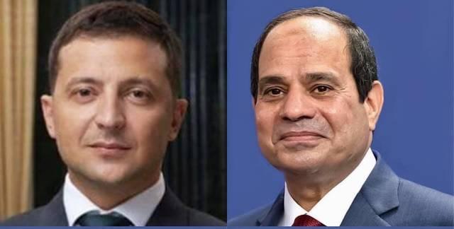الرئيس المصري عبد الفتاح السيسي ورئيس أوكرانيا فلوديمير زيلينسكي