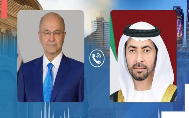 الشيخ حمدان بن زايد والرئيس برهم صالح - وكالة