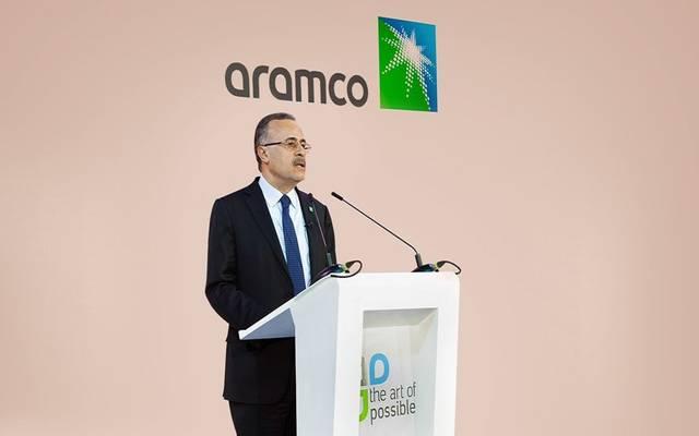 رئيس شركة الزيت العربية السعودية- أرامكو وكبير إدارييها التنفيذيين، أمين الناصر، خلال كلمة في المنتدى الاقتصادي العالمي في دافوس بسويسرا