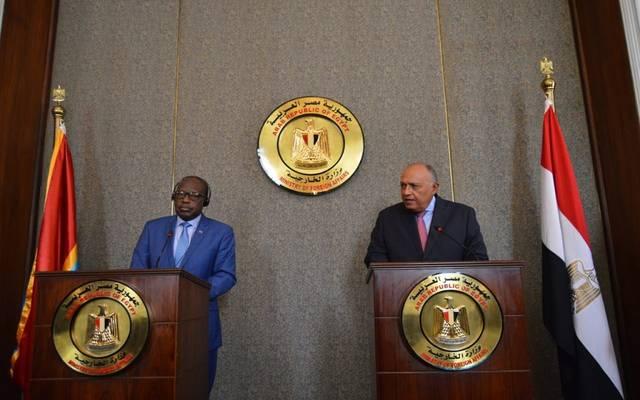 سامح شكري وزير الخارجية المصرية مع كريستوف لوتوندولا نائب رئيس الوزراء ووزير خارجية الكونغو الديمقراطية