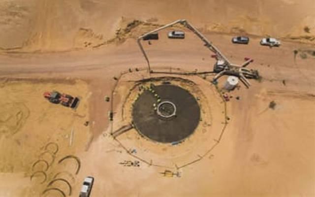 أعمال الأساسات الخرسانية بمحطة إنتاج الكهرباء بطاقة الرياح بقدرة 250 ميجاوات في رأس غارب بمصر