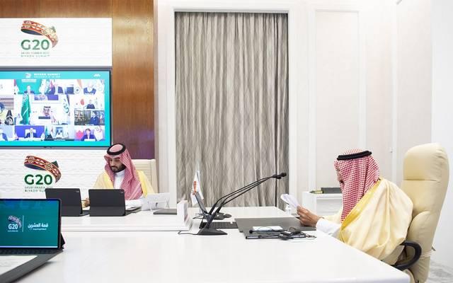 خادم الحرمين الشريفين الملك سلمان بن عبدالعزيز وولي العهد الأمير محمد بن سلمان خلال قمة قادة مجموعة العشرين