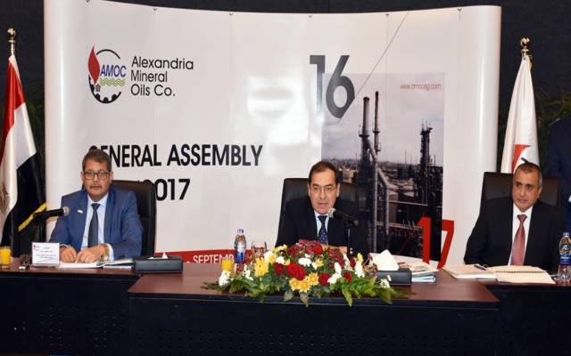 جانب من اجتماع الجمعية العامة لشركة أموك برئاسة وزير البترول طارق الملا