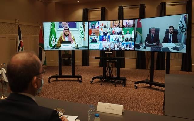 """ملك الأردن يؤكد لـ""""قمة العشرين"""" ضرورة التصدي لتداعيات كورونا"""