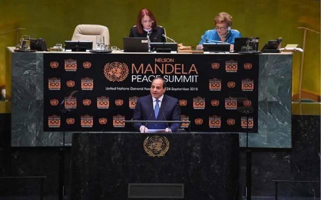 الرئيس السيسي خلال مشاركته في قمة مانديلا للسلام