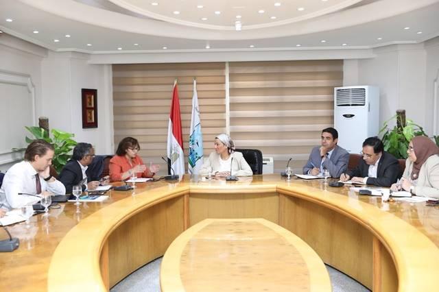 جانب من اجتماع وزيرة البيئة مع وفد صندوق النقد