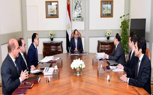خلال اجتماع السيسي، مع رئيس مجلس الوزراء، ووزير المالية