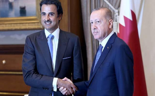 أمير قطر خلال لقاء سابق مع الرئيس التركي