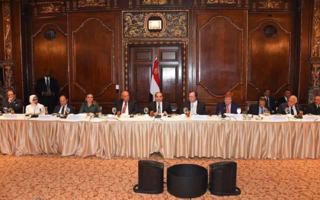 السيسي خلال الفاعلية التي نظمتها غرفة التجارة الأمريكية، ومجلس الأعمال المصري الأمريكي