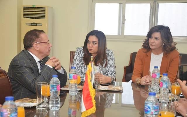 خلال اجتماع وزيرة الهجرة مع محافظ دمياط