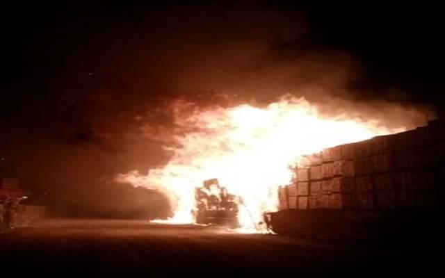 صورة للحريق من الحساب الرسمي لمؤسسة الموانئ