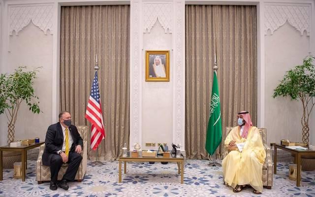 ولي العهد السعودي الأمير محمد بن سلمان خلال لقائه وزير الخارجية الأمريكي مايك بومبيو