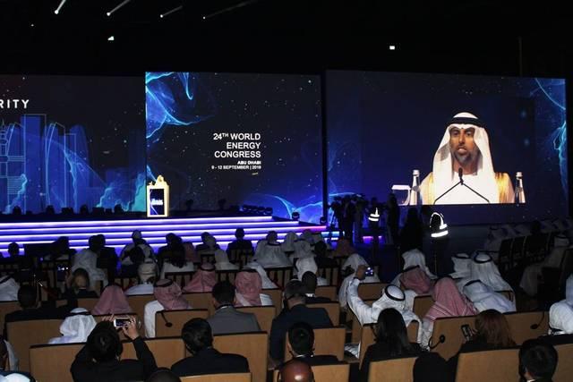 سهيل المزروعي وزير الصناعة الإماراتي خلال المشاركة بالمؤتمر
