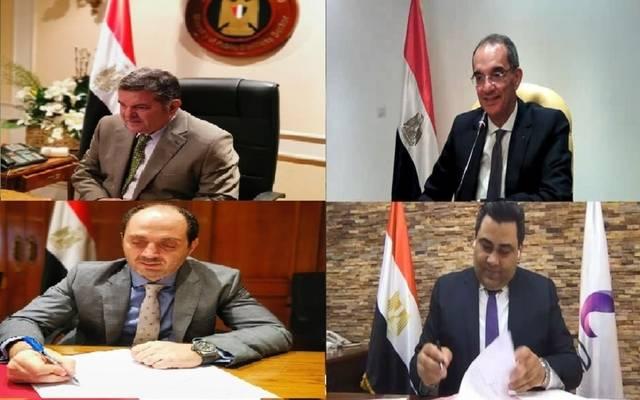 وزيرا قطاع الأعمال والاتصالات يشهدان توقيع بروتوكول تنفيذ البنية التحتية بمشروع التحول الرقمي