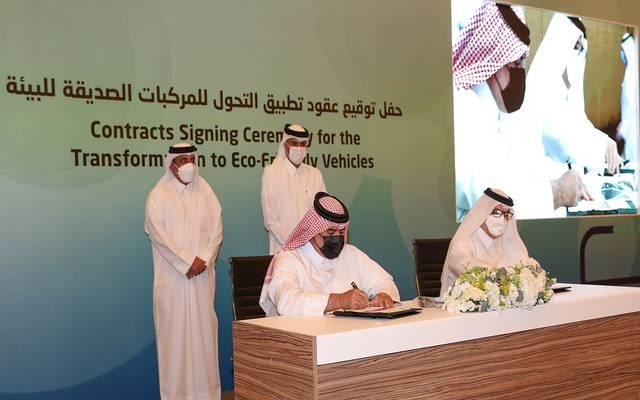 خلال توقيع الاتفاقيات بحضور خالد بن خليفة بن عبدالعزيز آل ثاني رئيس مجلس الوزراء ووزير الداخلية القطري
