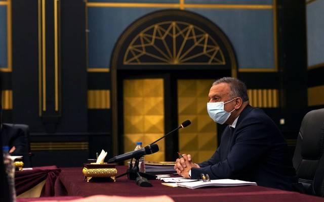 رئيس الحكومة العراقية، مصطفى الكاظمي، خلال اجتماع مجلس الوزراء في البصرة