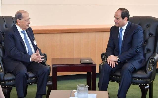 الرئيس السيسي خلال لقاء الرئيس اللبناني