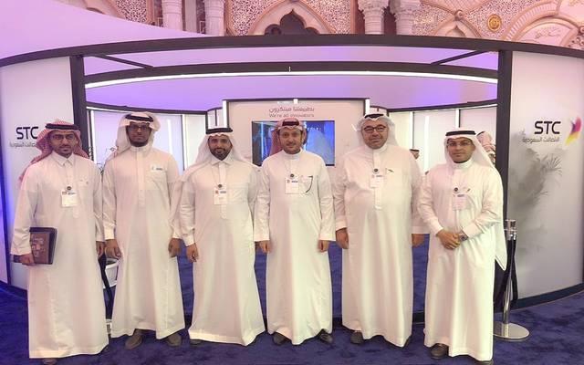 قيادات شركة الاتصالات السعودية خلال مبادرة مستقبل الاستثمار 2018
