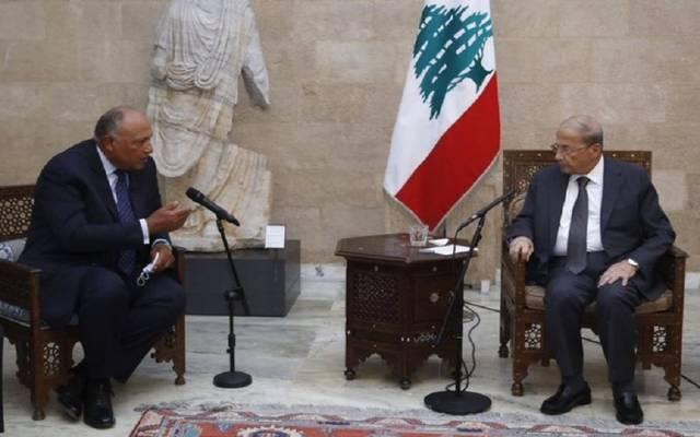 الرئيس اللبناني مشيال عون مع وزير الخارجية المصري سامح شكري