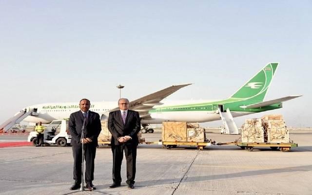 جانب من مؤتمر صحفي بمطار بغداد الدولي