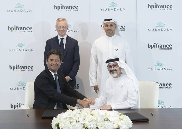 Officials from the UAE Mubadala and the French Bpifrance