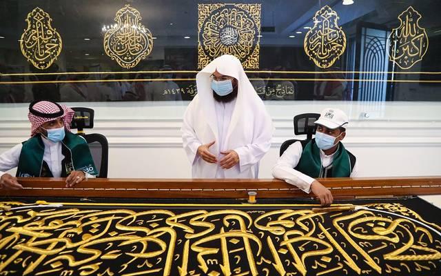 الرئيس العام لشؤون الحرمين الشيخ عبدالرحمن السديس خلال إطلاق الخطط التطويرية لمجمع الملك عبدالعزيز لصناعة الكسوة