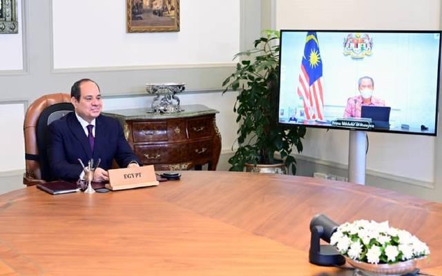 الرئيس السيسي يتلقى اتصالاً عبر تقنية الفيديو كونفرانس من محيي الدين ياسين رئيس وزراء ماليزيا