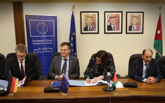 جانب من توقيع الاتفاقية بين الجانب الألماني والأردني