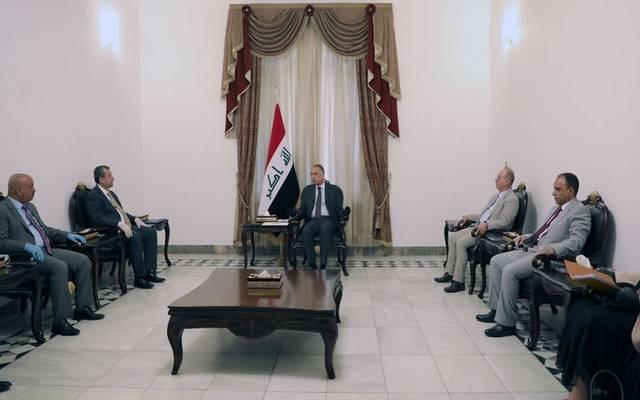 جانب من لقاء رئيس الوزراء العراقي المكلف مصطفى الكاظمي بوفد المفوضية العليا للانتخابات