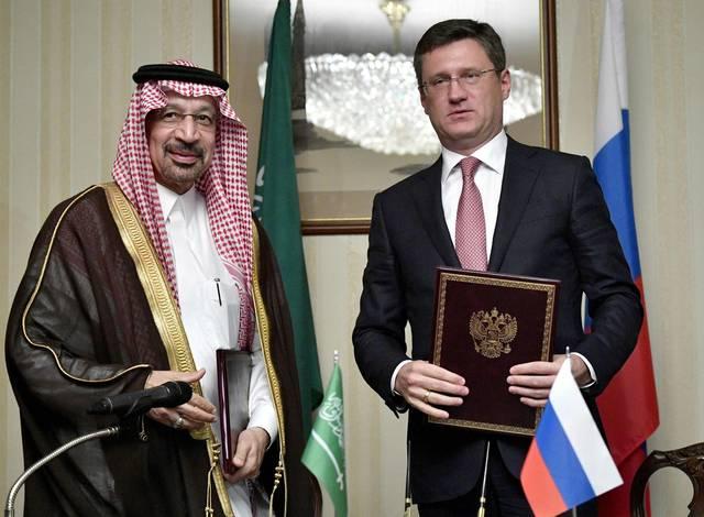 المهندس خالد الفالح وزير الطاقة والصناعة والثروة المعدنية السعودي مع وزير الطاقة الروسي ألكساندر نوفاك