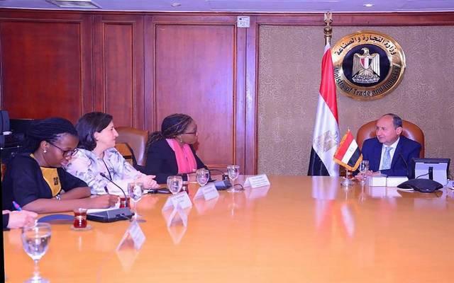 جانب من اللقاء بمقر وزارة التجارة المصرية